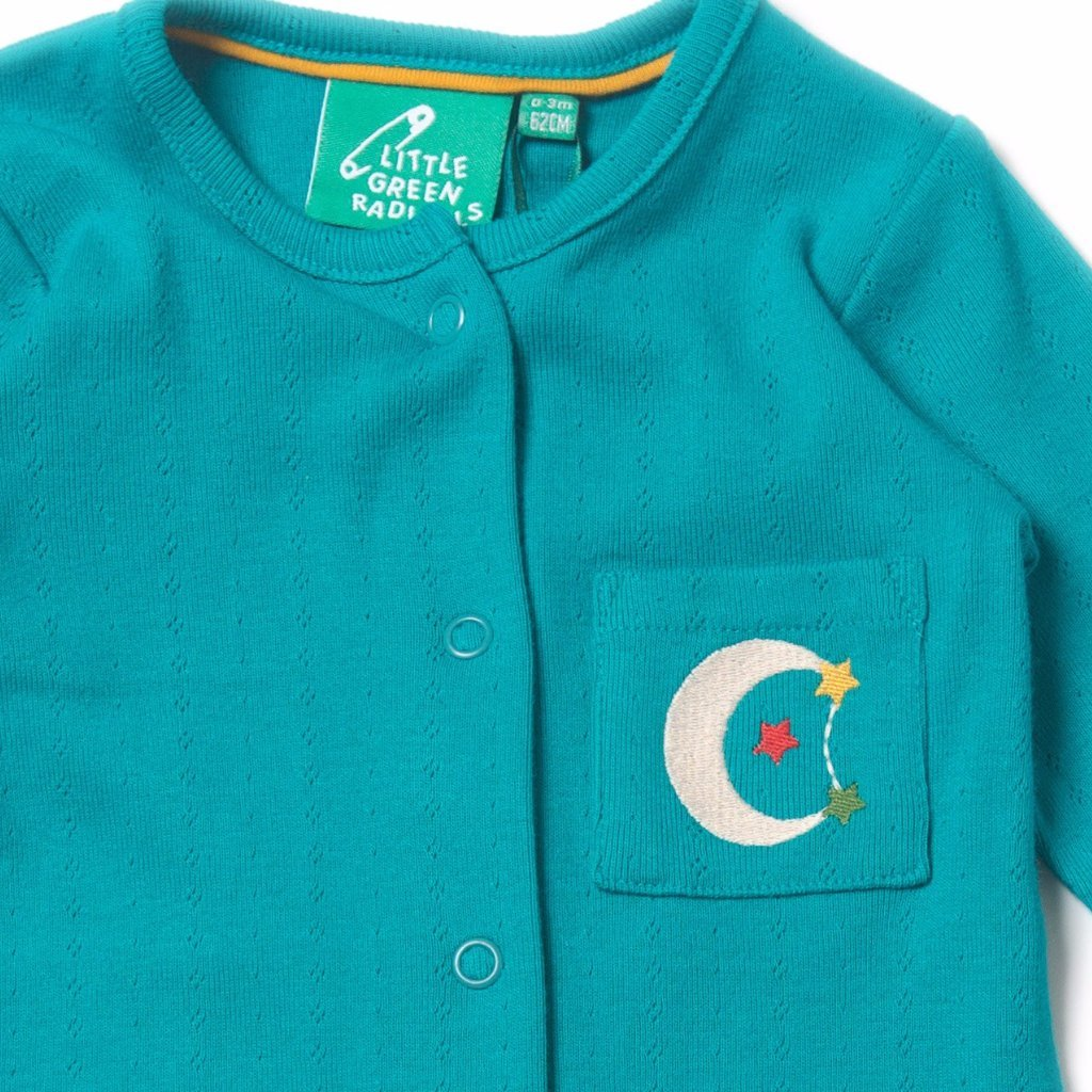 Organic Fairtrade Cotton – Blue Pointelle Baby grows